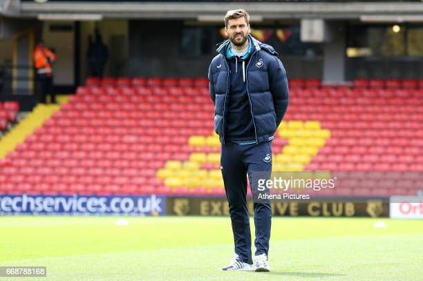 Fernando Llorente of Swansea City looks around Vicarage Road Stadium prior to kick off of the Premier League match between Watford and Swansea City...