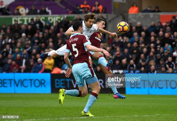 Fernando Llorente of Swansea City scores his sides first goal during the Premier League match between Swansea City and Burnley at Liberty Stadium on...