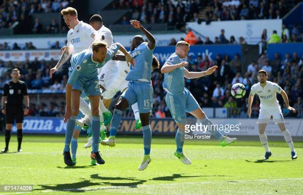 Fernando Llorente of Swansea City scores his sides first goal during the Premier League match between Swansea City and Stoke City at the Liberty...