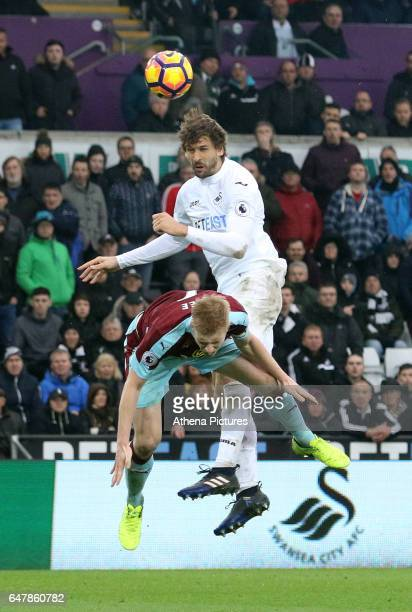 Fernando Llorente of Swansea City scores his sides third goal of the match during the Premier League match between Swansea City and Burnley at The...