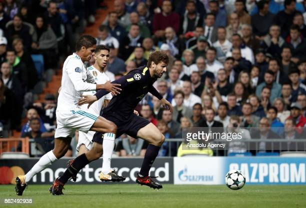 Fernando Llorente of Totenham in action against Achraf Hakimi of Real Madrid during UEFA Champions League Group H match between Real Madrid and...