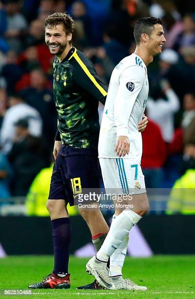 Fernando Llorente of Tottenham Hotspur and Cristiano Ronaldo of Real Madrid embrace after the UEFA Champions League group H match between Real Madrid...