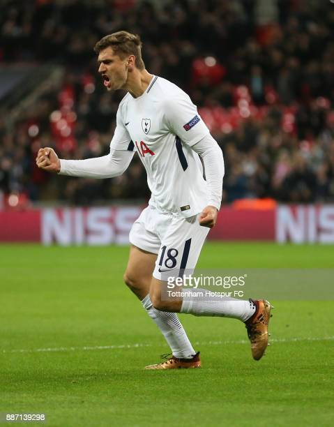 Fernando Llorente of Tottenham Hotspur celebrates after scoring his sides first goal during the UEFA Champions League group H match between Tottenham...