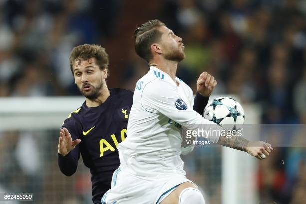 Fernando Llorente of Tottenham Hotspur FC Sergio Ramos of Real Madrid during the UEFA Champions League group H match between Real Madrid and...
