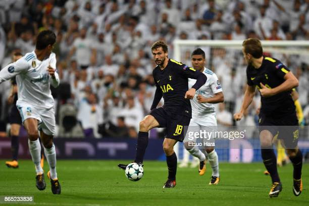 Fernando Llorente of Tottenham Hotspur in action during the UEFA Champions League group H match between Real Madrid and Tottenham Hotspur at Estadio...