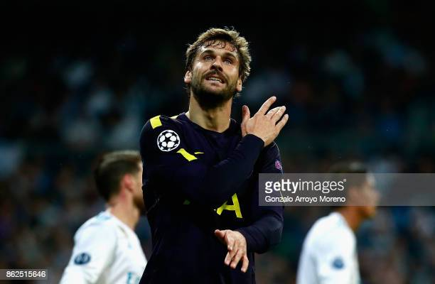 Fernando Llorente of Tottenham Hotspur reacts during the UEFA Champions League group H match between Real Madrid and Tottenham Hotspur at Estadio...