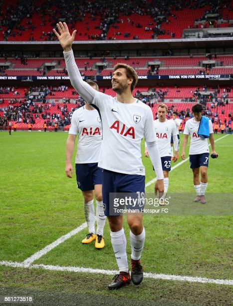 Fernando Llorente of Tottenham Hotspur shows appreciation to the fans after the Premier League match between Tottenham Hotspur and AFC Bournemouth at...