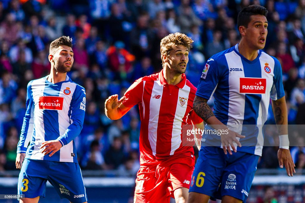 Fernando Llorente, Ruben Duarte and Enzo Roco of RCD Espanyol during the match between RCD Espanyol and Sevilla CF, for the round 36 of the Liga BBVA, played at RCD Espanyol Stadium on 1th May 2016 in Barcelona, Spain.