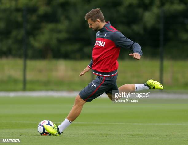 Fernando Llorente takes a shot during the Swansea City Training at The Fairwood Training Ground on August 16 2017 in Swansea Wales