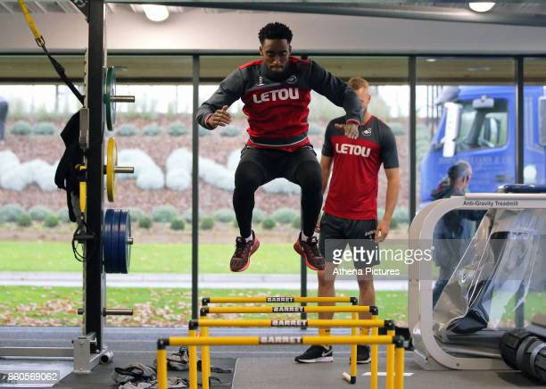 Fernando Llorente works out in the gym during the Swansea City Training at The Fairwood Training Ground on October 11 2017 in Swansea Wales