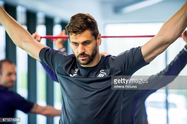 Fernando Llorente works out in the gymnasium during the Swansea City Training at The Fairwood Training Ground on April 20 2017 in Swansea Wales