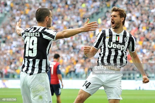 Fernando Lorente of Juventus celebrates scoring their second goal during the Serie A match between Juventus and Cagliari Calcio at Juventus Arena on...