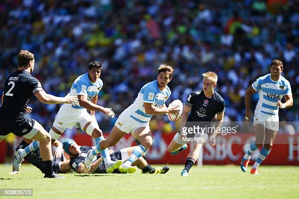 Fernando Luna of Argentina makes a break during the 2016 Sydney Sevens Plate Semi Final match between England and Argentina at Allianz Stadium on...