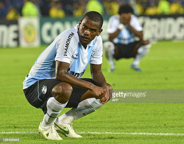 Fernando Martins of Brazil Gremio reacts during their Copa Sudamericana QuarterFinal football match againts Colombian Millonarios at the El Campin...