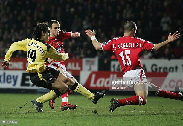 Fernando Morientes of Liverpool scores a goal during the Barclays Premiership match between Charlton Athletic and Liverpool at The Valley on February...