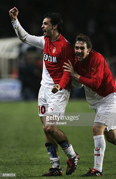 Fernando Morientes of Monaco celebrates at the final whistle after the UEFA Champions League Quarter Final Second Leg match between AS Monaco and...