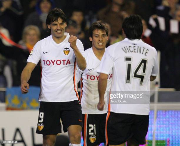 Fernando Morientes of Valencia celebrates after scoring his team's second goal during the La Liga match between Valencia and Atletico Madrid at the...
