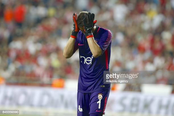 Fernando Muslera of Galatasaray reacts during the 4th week of the Turkish Super Lig match between Antalyaspor and Galatasaray at the Antalya Stadium...