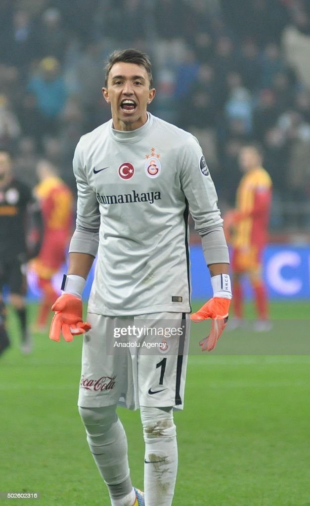 Fernando Muslera of Galatasaray reacts during Turkish Spor Toto Super Lig football match between Kayserispor and Galatasaray at the Kadir Has Stadium...