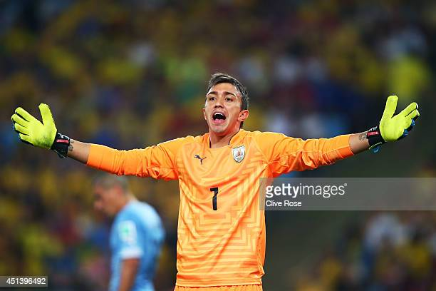 Fernando Muslera of Uruguay reacts during the 2014 FIFA World Cup Brazil round of 16 match between Colombia and Uruguay at Maracana on June 28 2014...