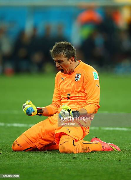 Fernando Muslera of Uruguay reacts his team's second goal during the 2014 FIFA World Cup Brazil Group D match between Uruguay and England at Arena de...