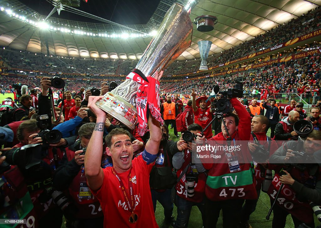 Fernando Navarro of Sevilla lifts the trophy after his team's victory during the UEFA Europa League Final match between FC Dnipro Dnipropetrovsk and...