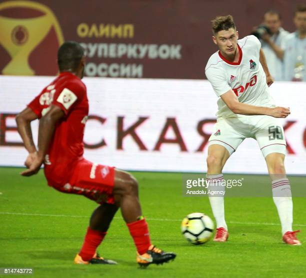 Fernando of FC Spartak and Aleksei Miranchuk of FC Lokomotiv in action during Russian Super Cup match between FC Lokomotiv Moscow vs FC Spartak...