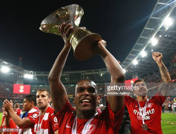 Fernando of FC Spartak celebrate with the trophy after winning the Super Cup of Russia against FC Lokomotiv Moscow at the Lokomotiv Stadium in Moscow...