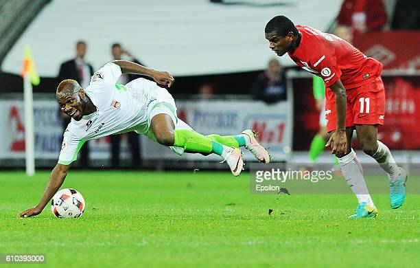 Fernando of FC Spartak Moscow vies for the ball with Slay of FC Ufa during the Russian Premier League match between FC Spartak Moscow and FC Ufa at...