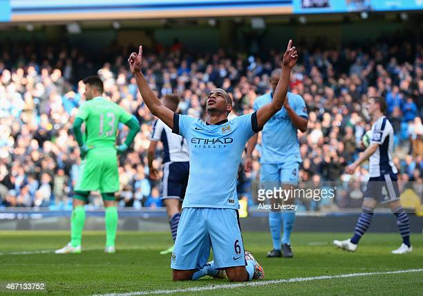 Fernando of Manchester City celebrates scoring their second goal during the Barclays Premier League match between Manchester City and West Bromwich...