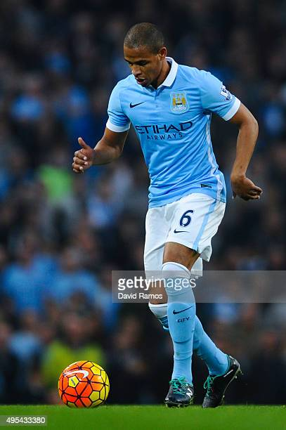 Fernando of Manchester City FC runs with the ball during the Barclays Premier League match between Manchester City and Norwich City at Etihad Stadium...
