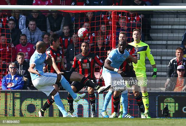 Fernando of Manchester City scores his team's first goal during the Barclays Premier League match between AFC Bournemouth and Manchester City at...