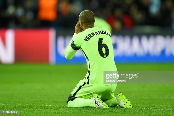 Fernando of Manchester City shows his dejection after his pass hitting Zlatan Ibrahimovic of Paris SaintGermain resulting in Paris SaintGermain's...