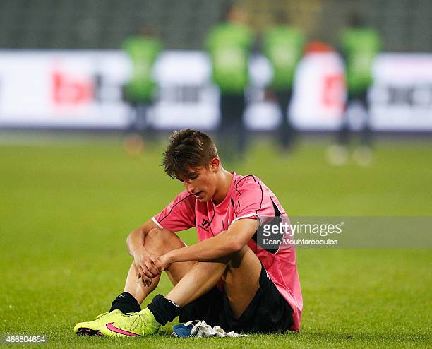 Fernando of Porto looks dejected after defeat in the UEFA Youth League quarter final match between RSC Anderlecht and FC Porto at Constant Vanden...