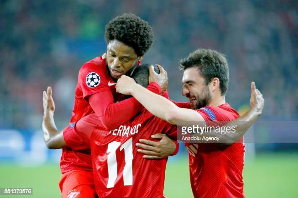 Fernando of Spartak Moscow celebrations after goal score during the UEFA Champions League match between Spartak Moscow and Liverpool FC at Spartak...