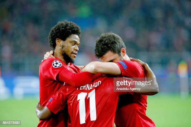 Fernando of Spartak Moscow celebrations after goal score of Liverpool and of Spartak Moscow in action during the UEFA Champions League match between...