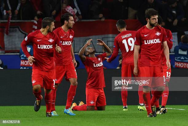 Fernando of Spartak Moskva celebrates after scoring the opening goal during the UEFA Champions League group E match between Spartak Moskva and...