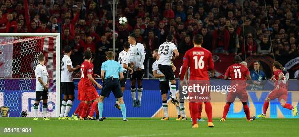 Fernando of Spartak Moskva scores the opening goal during the UEFA Champions League group E match between Spartak Moskva and Liverpool FC at...