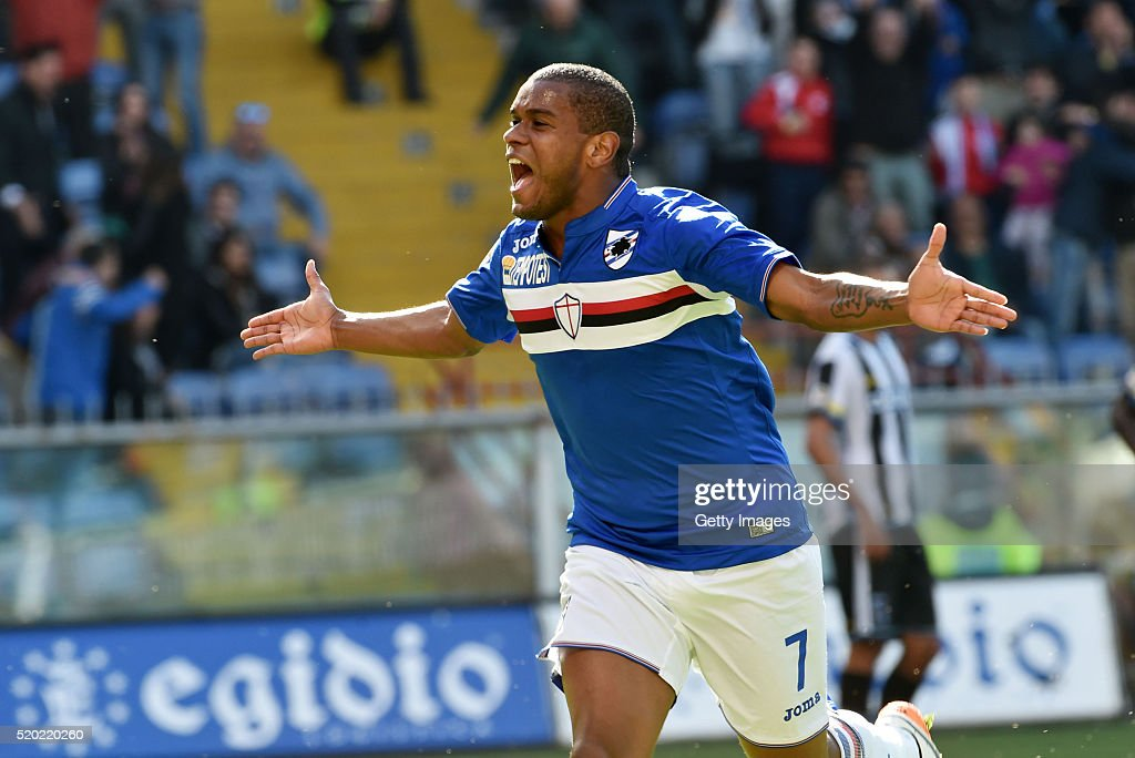 Fernando of UC Sampdoria celebrates after scoring the second goal during the Serie A match between UC Sampdoria and Udinese Calcio at Stadio Luigi...
