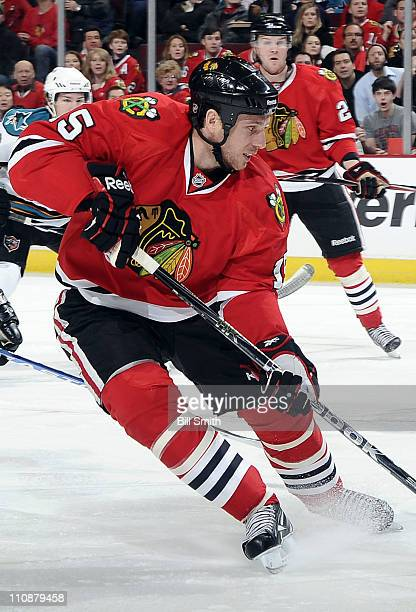 Fernando Pisani of the Chicago Blackhawks approaches the puck during the game against the San Jose Sharks on March 14 2011 at the United Center in...