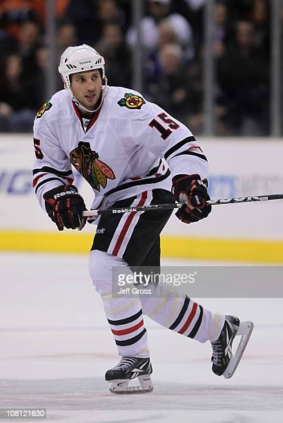 Fernando Pisani of the Chicago Blackhawks skates against the Los Angeles Kings at Staples Center on January 3 2011 in Los Angeles California The...