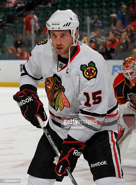 Fernando Pisani of the Chicago Blackhawks skates prior to the NHL game against the Florida Panthers on March 8 2011 at the BankAtlantic Center in...