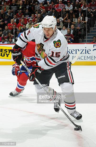 Fernando Pisani of the Chicago Blackhawks skates with the puck during the NHL game against the Montreal Canadiens on April 5 2011 at the Bell Centre...