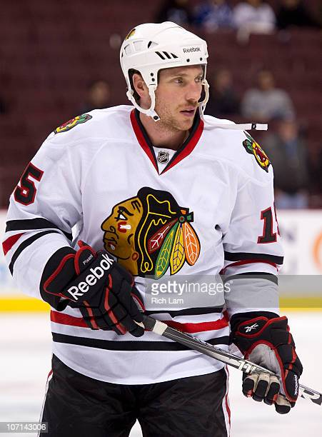 Fernando Pisani of the Chicago Blackhawks takes part in the team warm up prior to NHL action against the Vancouver Canucks on November 20 2010 at...