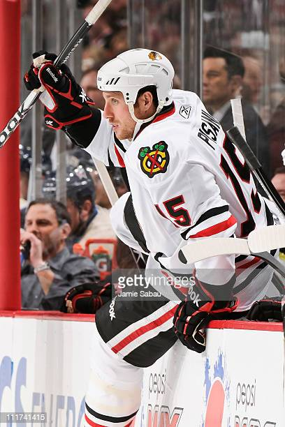 Fernando Pisani of the Chicago Blackhawks takes the ice for a shift against the Chicago Blackhawks on April 1 2011 at Nationwide Arena in Columbus...