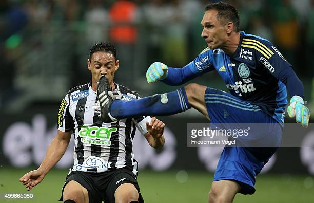 Fernando Prass of Palmeiras fights for the ball with Ricardo Oliveira of Santos during the match between Palmeiras and Santos for the Copa do Brasil...