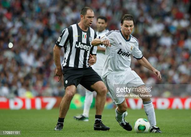 Fernando Redondo of Real Madrid Legends runs with the ball during the Real Madrid Legends v Juventus Veterans Corazon Classic Match 2013 at Estadio...