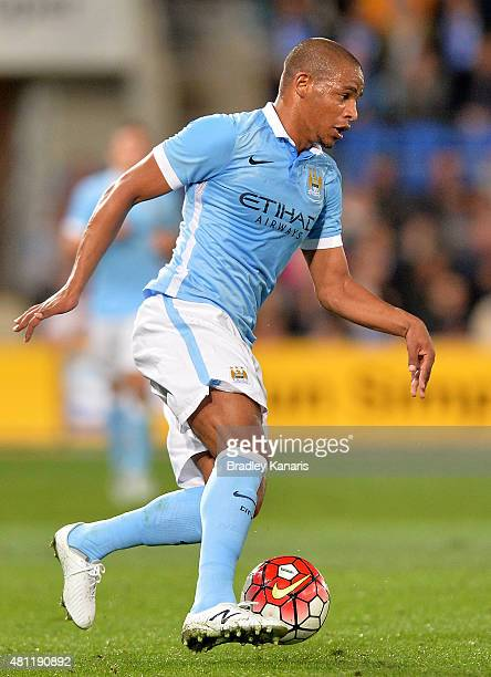 Fernando Reges of Manchester City controls the ball during the international friendly match between Melbourne City and Manchester City at Cbus Super...