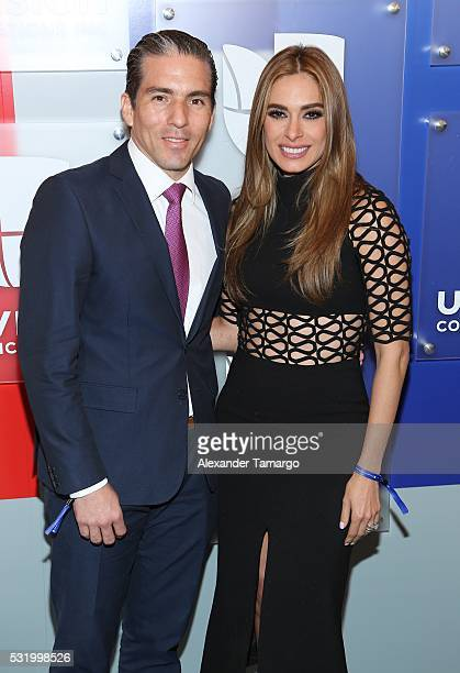 Fernando Reina and Galilea Montijo are seen arriving at Univision's UpFront 2016 at Gotham Hall on May 17 2016 in New York New York