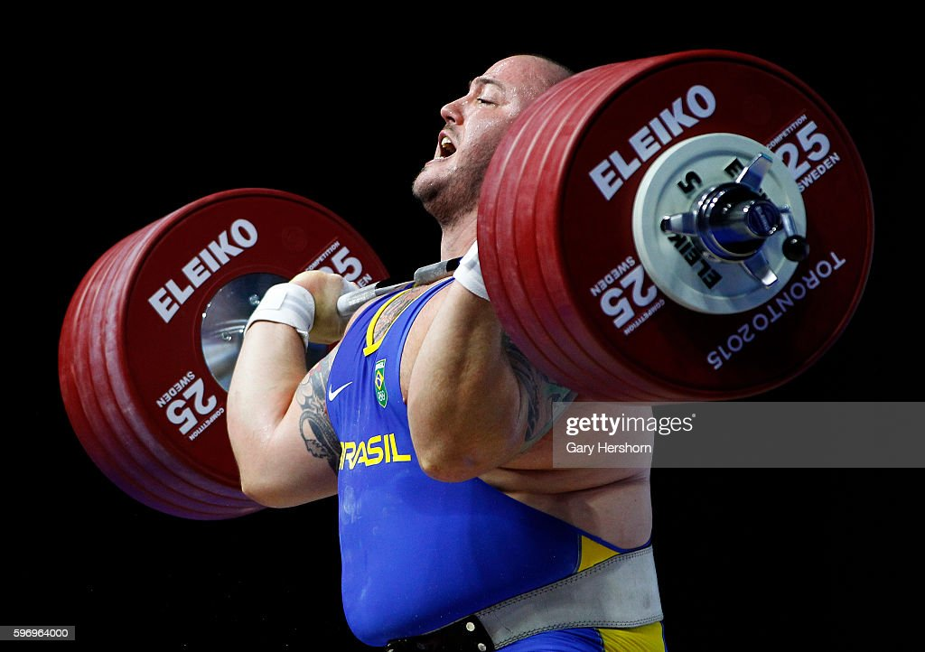Fernando Reis of Brazil successfully lifts 235kg in the clean and jerk competiton of the 105kg group in weightlifting at the Toronto 2015 PanAm Games...